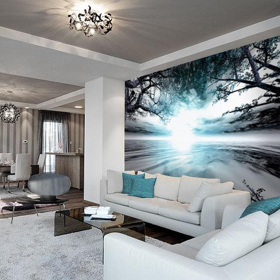 Fototapeta z turkusowym krajobrazem do salonu for Badezimmer wanddekoration