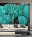 Foto-tapeta z turkusowymi tulipanami