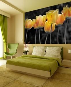 Tapeta z żółtymi tulipanami