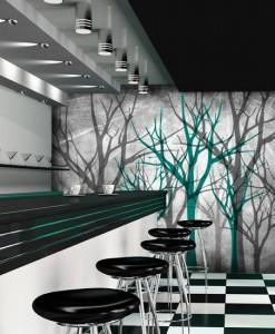 Tapeta zielone i szare drzewka