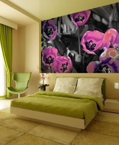 Neonowe tulipany na tapecie