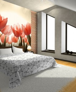 Foto-tapeta z koralowymi tulipanami