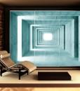 Tapeta z betonowym tunelem w kolorze turkusowym