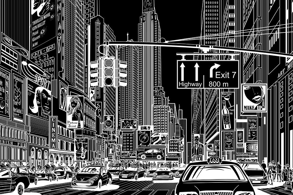 fototapeta rysunkowa ulica w nowym jorku