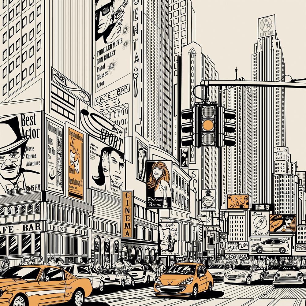 fototapeta z komiksowym miastem