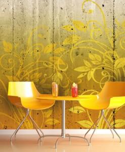 Tapeta żółty wzór na deskach