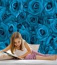Fototapeta z niebieskimi pąkami róż