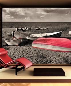 Fototapeta z łodziami na plaży