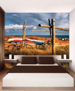 Foto-tapeta rowery i łodzie na wydmach