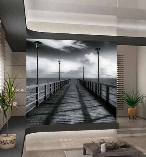 Foto-tapeta  drewniane molo i latarnie