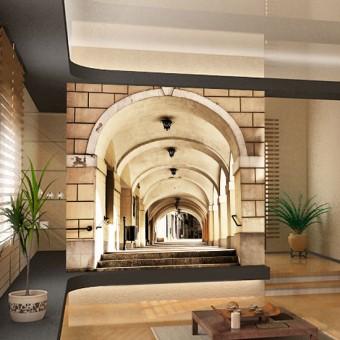 fototapeta uliczka schody wzory przestrzenne