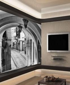 Fototapeta uliczka w Barcelonie - Foto-tapeta arkady i uliczka