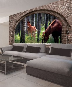 Tapeta konie w lesie