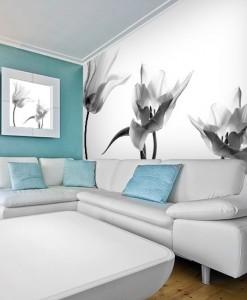 Fototapeta biało-czarna z trzema tulipanami