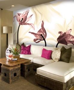 Tapeta z różowymi tulipanami
