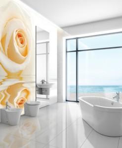 Fototapeta z kremową różą nad wodą