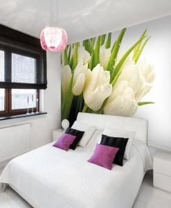 Foto-tapeta bukiet białych tulipanów
