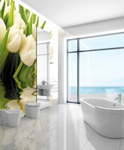 Foto-tapeta białe tulipany w wodzie