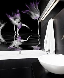 Foto-tapeta tulipany na czarnym tle