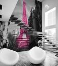 Foto-tapeta różowa wieża Eiffla