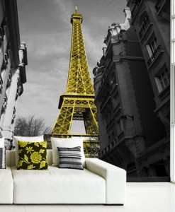 Fototapeta z wieżą Eiffla w kolorze żółtym