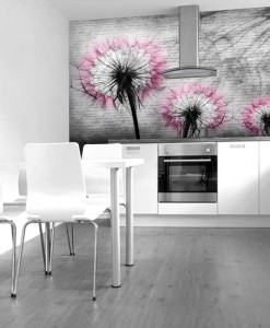Foto-tapeta trzy różowe dmuchawce