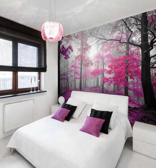 Foto-tapeta z różowym lasem