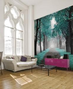 Foto-tapeta turkusowe drzewa przy drodze