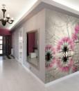 Fototapeta w sepii z różowymi dmuchawcami
