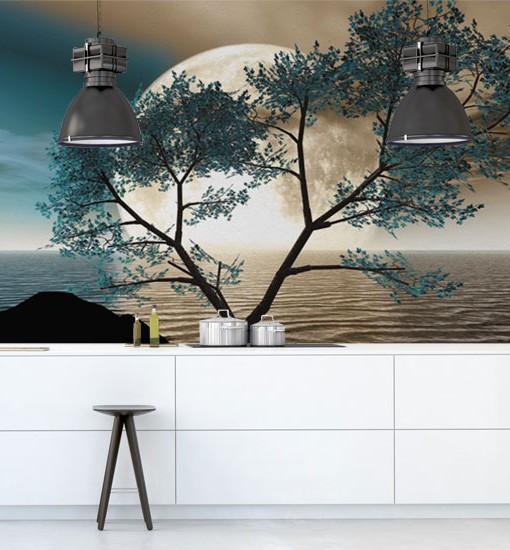 Fototapeta turkusowe drzewo i księżyc