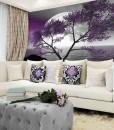 Tapeta księżyc i fioletowe drzewo