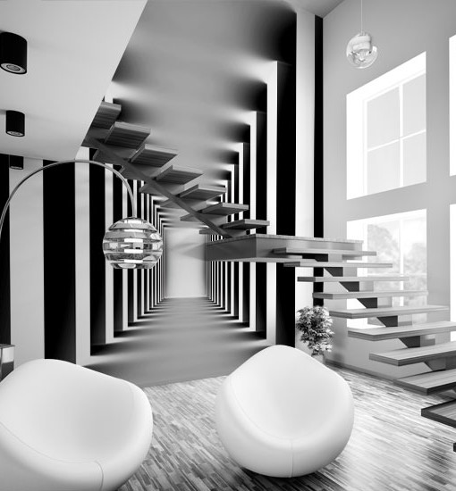 Tapeta czarno-biały korytarz
