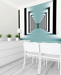 Fototapeta z turkusowym korytarzem