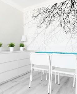 Tapeta czarno-białe gałęzie