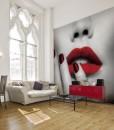 Foto-tapeta kobieta z czerwonymi ustami
