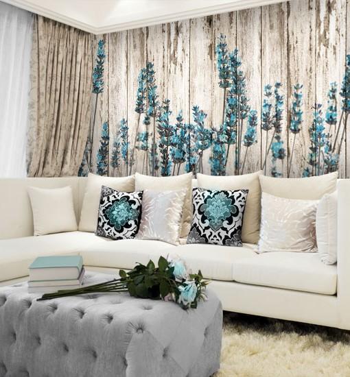 Tapeta turkusowe kwiaty lawendy