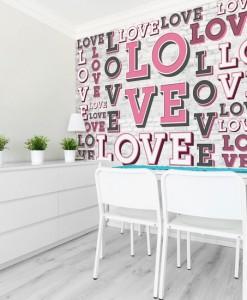 Foto-tapeta różowe napisy love