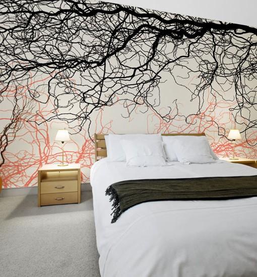 Foto-tapeta z gałęziami drzew