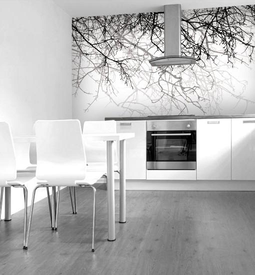 Tapeta czarno-białe drzewo