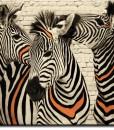 Tapeta z trzema zebrami na tle cegieł
