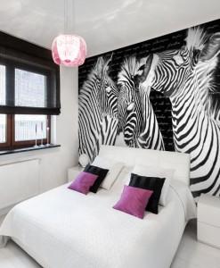 Tapeta z zebrami i listem