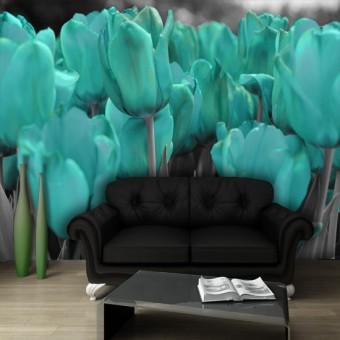 fototapeta niebieskie tulipany