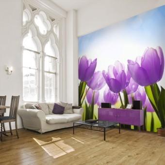 Tulipany na fototapecie - fototapeta ogród kwitnące tulipany