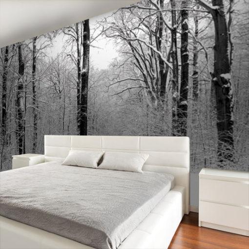 ozdoby z drzewami zimą