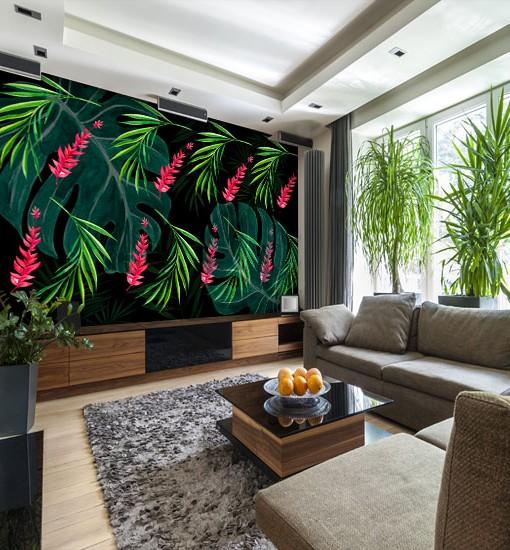 tapeta w tropikalny wzór