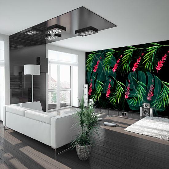 tapeta w salonie na jednej ścianie