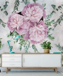 tapeta na ścianę w kwiaty