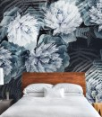 turkusowe kwiaty fototapeta