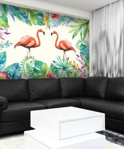 tapeta flamingi i rośliny