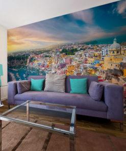 tapeta z motywem kolorowych domów